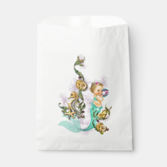 Teal Blue Mermaid Baby Shower Favour Bags