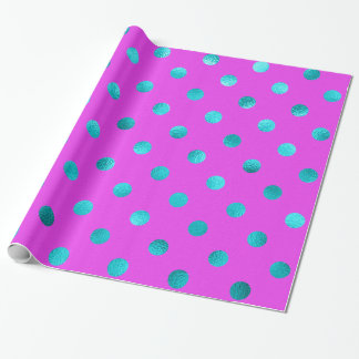 Teal Blue Metallic Faux Foil Polka Dot Purple Wrapping Paper