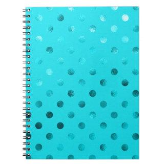 Teal Blue Metallic Polka Dot Pattern Swiss Dots Notebooks