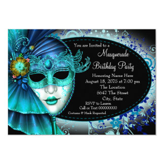 Teal Blue Midnight Masquerade Party 13 Cm X 18 Cm Invitation Card