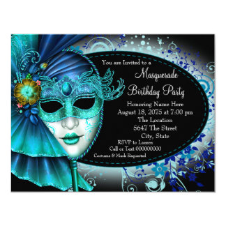 Teal Blue Midnight Masquerade Party 4.25x5.5 Paper Invitation Card