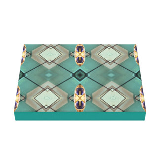 Teal Blue Mod Geometric Contemporary Art Canvas