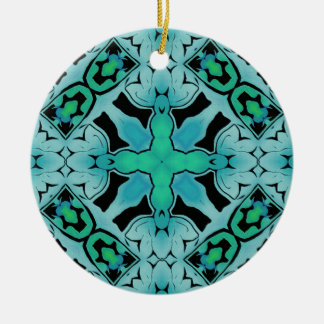 Teal Blue Mod Geometric Contemporary Art Ornament