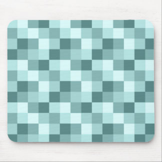 Teal Blue Monochrome Checkered Pattern Mouse Pad