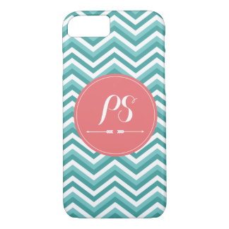 Teal Blue Monogram iPhone 8/7 Case