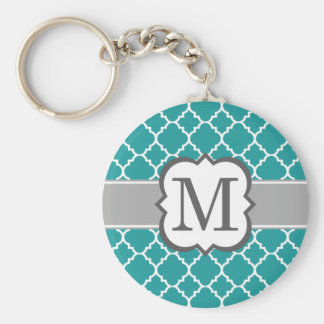 Teal Blue Monogram Letter M Quatrefoil Basic Round Button Key Ring