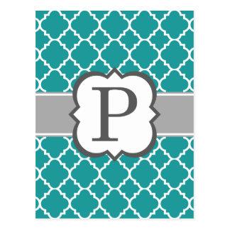Teal Blue Monogram Letter P Quatrefoil Postcard