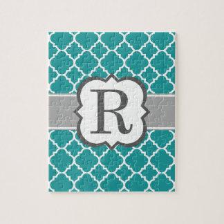 Teal Blue Monogram Letter R Quatrefoil Jigsaw Puzzle