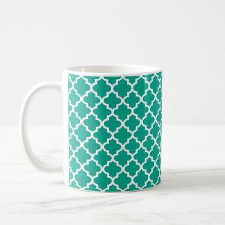 Teal blue Moroccan tile geometric chic coffee Basic White Mug
