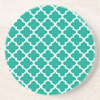 Teal blue Moroccan tile pattern geometric modern Coaster