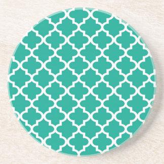 Teal blue Moroccan tile pattern geometric modern Drink Coasters
