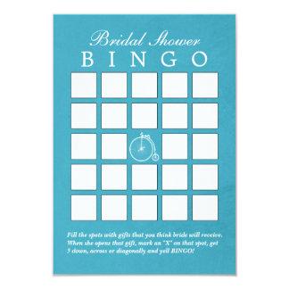 Teal Blue Old Bike Bridal Shower Bingo Cards 9 Cm X 13 Cm Invitation Card