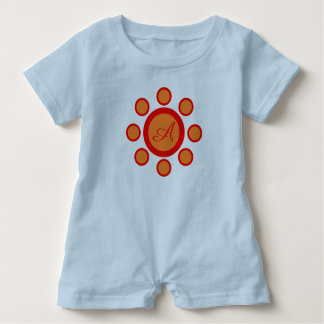 Teal blue, orange and red maruthani baby bodysuit