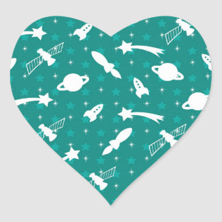 Teal Blue Outer Space Astronaut Planets Stars Heart Sticker