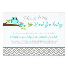 Teal Blue Owl Grey Chevron Baby Shower Book Card