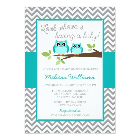 Teal Blue Owl Grey Chevron Boy Baby Shower Card