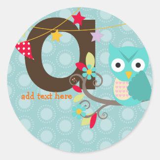 Teal + Blue Owl stickers/add monogram