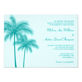 Teal Blue Palm Tree Tropical Wedding 13 Cm X 18 Cm Invitation Card