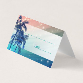 Teal Blue Peach Tropical Beach Wedding Place Cards