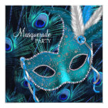 Teal Blue Peacock Mask Masquerade Party Personalised Invites