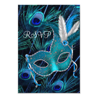 Teal Blue Peacock Mask Masquerade Party RSVP Invites