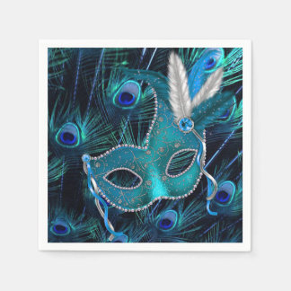 Teal Blue Peacock Masquerade Party Disposable Serviettes