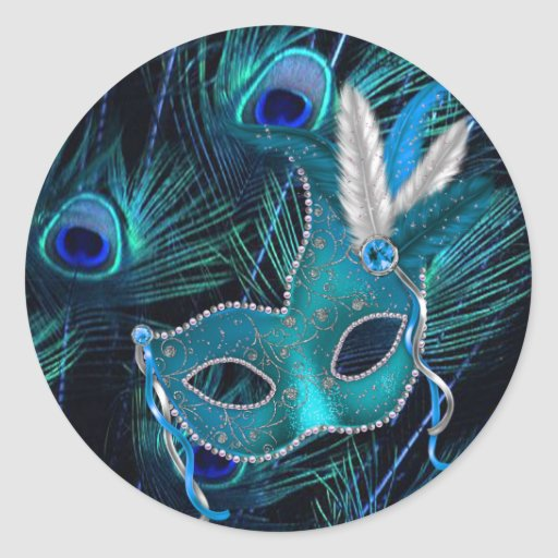 Teal Blue Peacock Masquerade Party Stickers