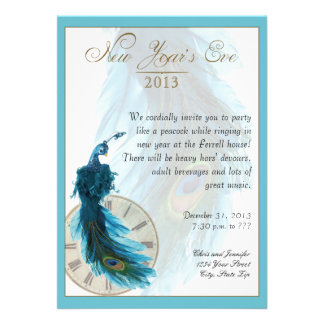 Teal Blue Peacock Plume New Years Eve Card