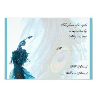Teal Blue Peacock Plume Response Card 9 Cm X 13 Cm Invitation Card