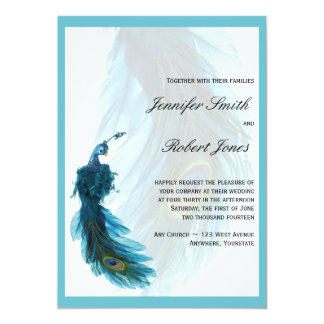 Teal Blue Peacock Plume Wedding Invitation