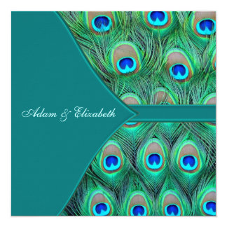 Teal Blue Peacock Wedding 13 Cm X 13 Cm Square Invitation Card