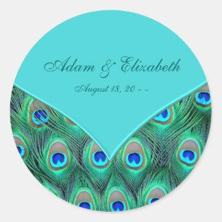 Teal Blue Peacock Wedding Favor Label