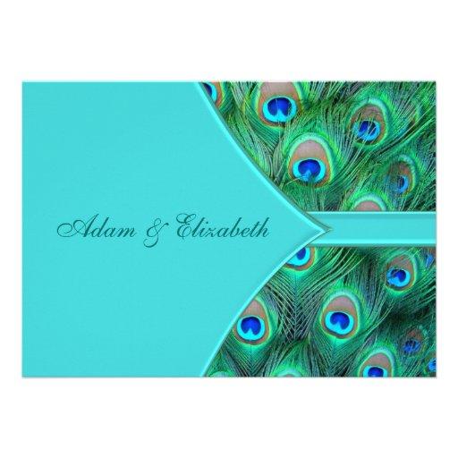 Teal Blue Peacock Wedding Invitation