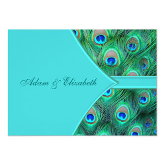 Teal Blue Peacock Wedding Invitation