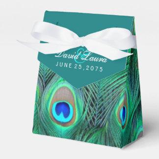 Teal Blue Peacock Wedding Wedding Favour Box