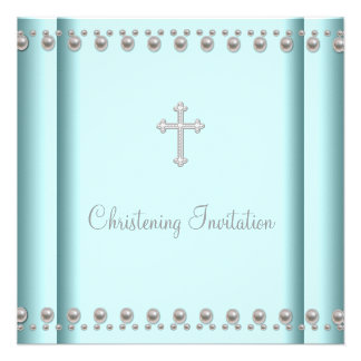 Teal Blue Pearl Cross Baby Boy or Girl Christening Personalized Announcements