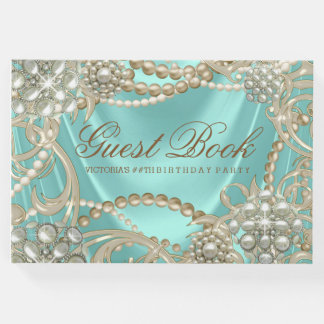 Teal Blue Pearl Womans Birthday Party Guest Book