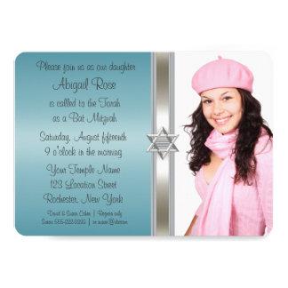 Teal Blue Photo Bat Mitzvah 13 Cm X 18 Cm Invitation Card