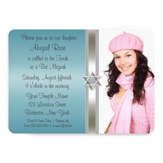 Teal Blue Photo Bat Mitzvah Card