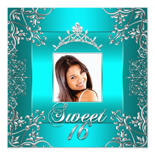 Teal Blue Photo Sweet 16 Sixteen 16th Birthday Card