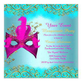 Teal Blue Pink Gold Mask Masquerade Birthday Party 5.25x5.25 Square Paper Invitation Card
