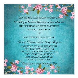 Teal Blue Pink Japanese Cherry Blossoms Wedding 13 Cm X 13 Cm Square Invitation Card