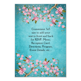 "Teal Blue Pink Japanese Cherry Blossoms Wedding 3.5"" X 5"" Invitation Card"