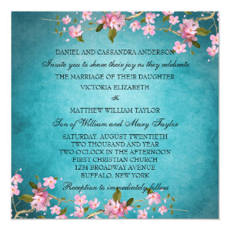 "Teal Blue Pink Japanese Cherry Blossoms Wedding 5.25"" Square Invitation Card"