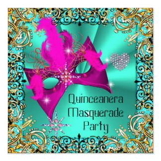 Teal Blue Pink Masquerade Quinceanera Party Mask 13 Cm X 13 Cm Square Invitation Card