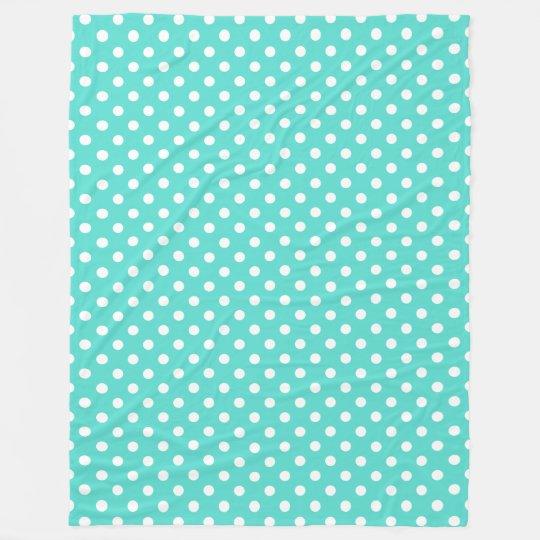 Teal Blue Polka Dot Pattern Fleece Blanket