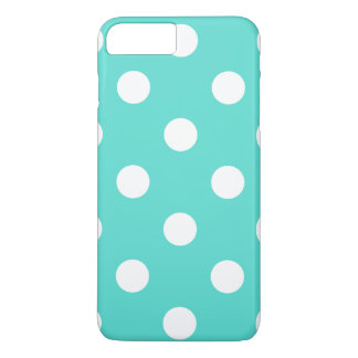 Teal Blue Polka Dot Pattern iPhone 8 Plus/7 Plus Case