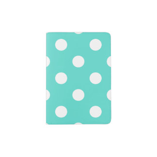 Teal Blue Polka Dot Pattern Passport Holder