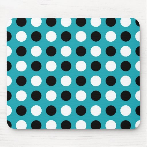 Teal Blue Polka Dots Mouse Pads