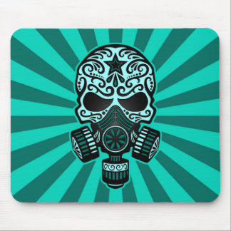 Teal Blue Post Apocalyptic Sugar Skull Mousepad